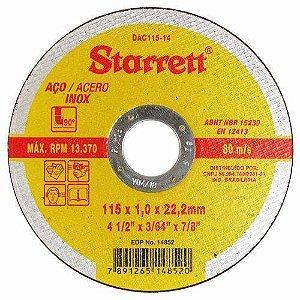 "DISCO DE CORTE DE 4.1/2"" AÇO INOX STARRETT DAC115-14"