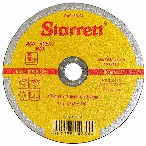 "DISCO DE CORTE DE 7"" AÇO INOX STARRETT DAC18024"