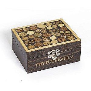 Phytoterápica Caixa de Madeira Escura Marchetaria 20 Divisórias