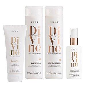 Braé Divine - Kit Home Care Shampoo Condicionador Leave-in e Máscara Líquida