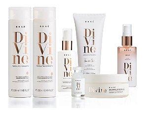 Braé Divine - Kit Completo Shampoo Condicionador Máscara Leave-in Máscara Líquida Sérum e Ampola