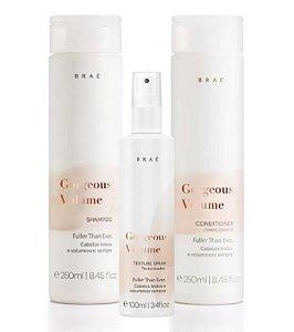 Braé Gorgeous Volume - Kit Shampoo Condicionador e Texturizador