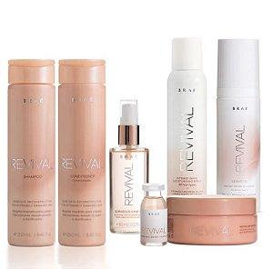 Braé Revival - Kit Completo Shampoo Condicionador Máscara Leave-in Sérum Spray de Hidratação e Ampola