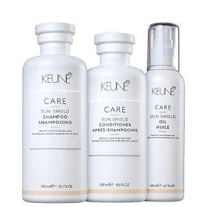 Keune Sun Shield Kit Shampoo Condicionador e Óleo Protetor