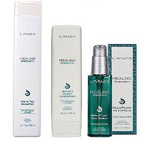 Lanza Healing Strenght - Kit Shampoo Condicionador e Silk Sérum