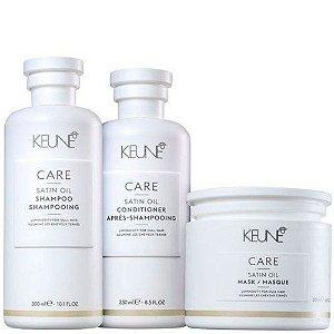 Keune Satin Oil - Kit Shampoo Condicionador e Máscara