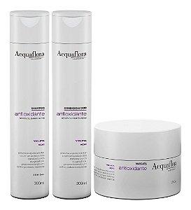 Acquaflora Antioxidante Cabelos Secos - Kit Shampoo Condicionador e Máscara