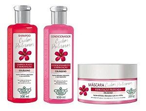Flores e Vegetais Cachos Poderosos - Kit Shampoo Condicionador e Máscara