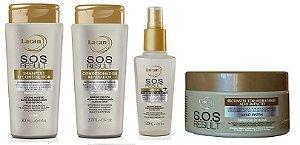 Lacan SOS Result - Kit  Shampoo Condicionador Loção Termoprotetora e Máscara