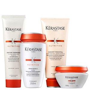 Kerastase Nutritive - Kit Bain Satin 2 Fondant Magistral Masquintense Cabelos Finos e Nectar Thermique