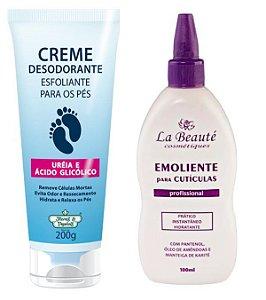 Kit Pés - Emoliente La Beaute + Creme Esfoliante para Pés Flores e Vegetais
