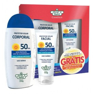 Flores e Vegetais Kit Protetor Solar Corporal + Protetor Solar Facial FPS50