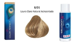 Wella Color Perfect Tinta 8/01Louro Claro Natural Acinzentado + Welloxon 20vol