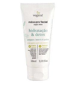 WNF Vegana Máscara Facial Argila Roxa Hidratação Detox 60ml