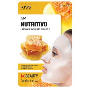Kiss Máscara Facial de Algodão - Mel Nutritiva