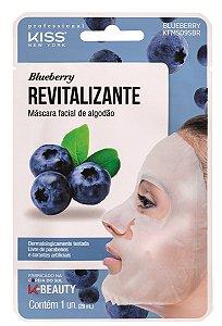 Kiss Máscara Facial de Algodão - Blueberry Revitalizante