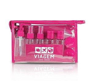 Jacki Design Kit de Frascos para Viagem 10 peças - Pink