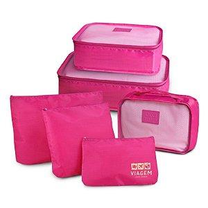 Jacki Design Kit Organizador de Mala Com 6 Peças - Pink