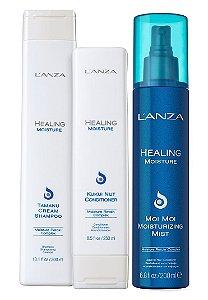 Lanza Healing Moisture Kit Shampoo Condicionador e Leave-in
