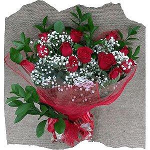 Buquê 12 Rosas (Vermelhas) Eu te Amo Mais que Rosas!