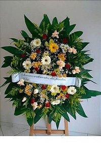Coroa Fúnebre Rosas, Gérberas e Margaridas Mistas