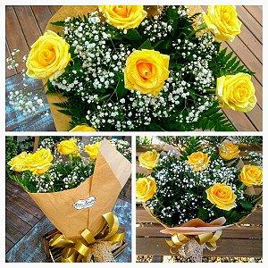 Buquê 06 Rosas (Amarelas) Tradicional