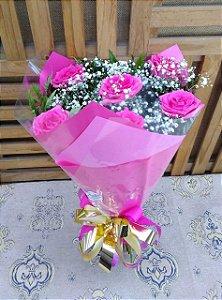 Buquê 6 Rosas (Cor de Rosa) Tradicional