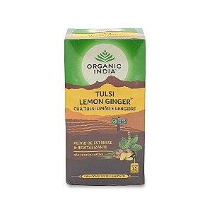 Chá de Tulsi - Organic India - Limão e Gengibre - Caixa com 25 sachês