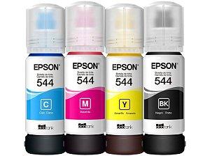 Kit 4 Cores Refil Tinta Epson Original T544 L3110 L3150 Preto, Magenta, Amarelo e Cyan