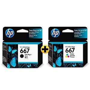 Kit Cartuchos Originais de Tinta HP 667 Preto + Colorido HP 667
