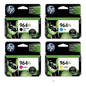 Kit 4 Cartuchos Originais HP 964XL Preto e Colorido 3JA57AL 3JA54AL 3JA55AL 3JA56AL