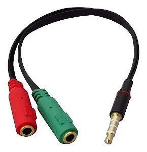 Cabo Adaptador P3 (p2 Combo)p/ Fone E Microfone Headset Preto