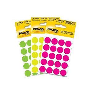 Etiqueta Pimaco Redonda TP19 C/100 UND 19MM Cores Fluorescente