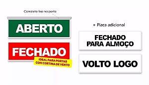 Kit Aberto Fechado + Fechado Almoço E Volto Logo Canaleta Adesiva