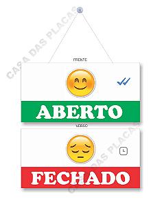 Placa Aberto E Fechado Emoji 2 Com Cordão E Ventosa Pvc