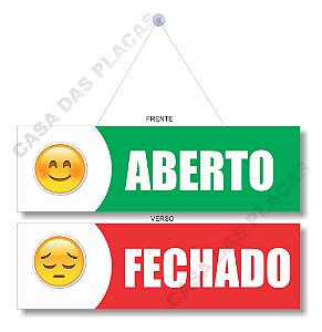 Placa Aberto E Fechado Emoji Com Cordão E Ventosa Pvc