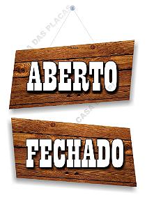 Placa Aberto Fechado Pvc Fundo Madeira Com Ventosa