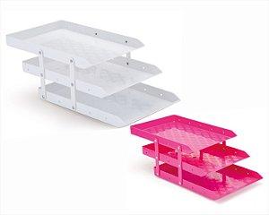 Caixa P/Correspondência Waleu Tripla Móvel Branca/Rosa