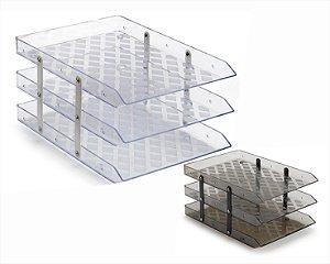 Caixa P/Correspondência Waleu Tripla Fixa Cristal/Fumê
