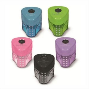 Apontador Simples Faber-Castell Mini Grip C/Depósito Cores Sortidas