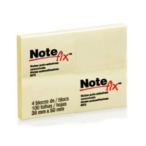 Blocos Adesivos 3M Note fix 38X50 C/4 Amarelo 100F