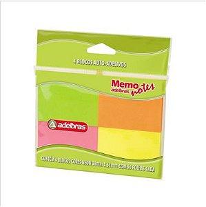 Blocos Adesivos Adelbras Memo Notes 38X50 C/4 Cores 50F
