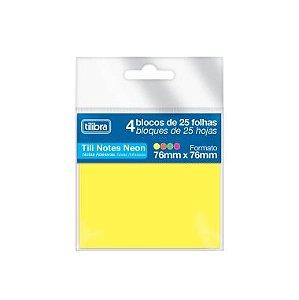 Blocos Adesivos Tilibra Tili Notes Neon 76X76 C/4 Cores 25F