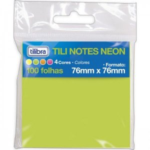 Blocos Adesivos Tilibra Tili Notes Neon C/4 Cores 100Und 76X76Mm