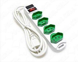 Extensão Elétrica Knup Sl7634 4 Tomadas Novo Padrão Brasileiro 2P+T (3 Pinos)