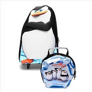 Kit Mochila Rodinha C/Lancheira Diplomata Os Penguins De Madagascar