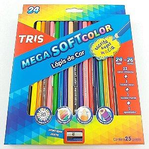 Lápis De Cor Tris Mega Soft 24 + 2 Cores + Apontador