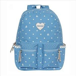 Mochila Triviun Corações Azul Bebê