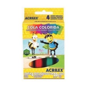 Cola Colorida Acrilex C/4 Cores 23G