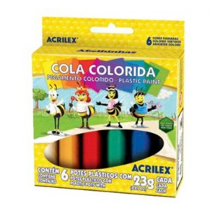 Cola Colorida Acrilex C/6 Cores 23G